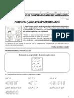 5ª Lista de Exercícios Complementares de Matemática - Professora Michelle - 8º Ano