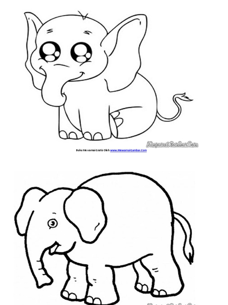 Buku Mewarnai Gambar Gajah 2