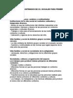 CONTENIDOS Ciencias Sociales 1 Ciclo
