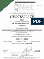 Certificado Sistema Gestion Calidad IQNET