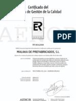 Certificado Sistema Gestion Calidad AENOR