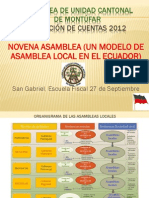 1. RESUMEN RENDICIÓN DE CUENTAS 2012 DE ASAMBLEA LOCAL DE MONTÚFAR Y DETALLE FINANCIERO