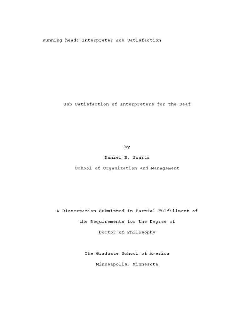 Phd thesis job satisfaction