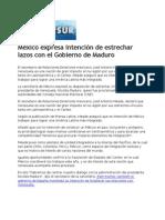 16-04-13 México expresa intención de estrechar lazos con el Gobierno de Maduro