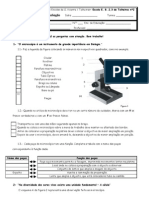 15899105 Teste Avaliacao Microscopio Celula Classificacao SV 5 Ano