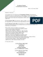 1050 - Communiqué de presse Prix Pegase 2009