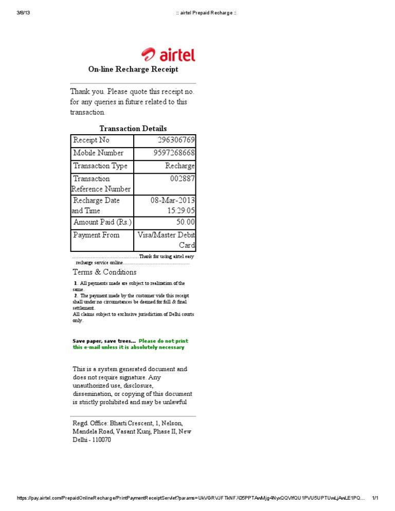 Airtel Prepaid Recharge Receipt Format