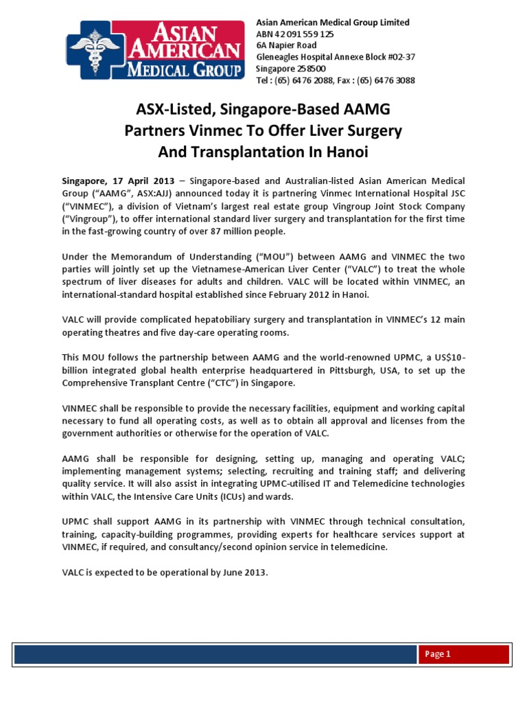 ASX-Listed, Singapore-Based AAMG Partners Vinmec To Offer Liver