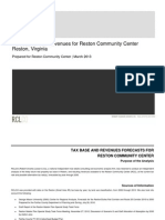 RCLCo Forecast of Tax Revenues for Reston Community Center
