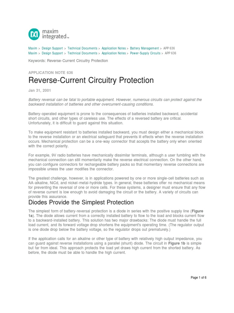 Reverse Current Circuitry Protection Application Note Maxim Diode Circuit An636 Field Effect Transistor Mosfet