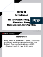 1. Investment Setting, Asset Allocation, Money Management and Ethics(2)