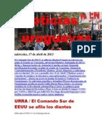 Noticias Uruguayas miércoles 17 de abril del 2013