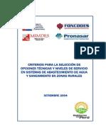 4 Criterios Seleccin Opciones y Niveles de Servic Sistemas de Agua y Saneam Zonas Rurales