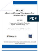 WiMAX Opportunities and Challenges in a Wireless World