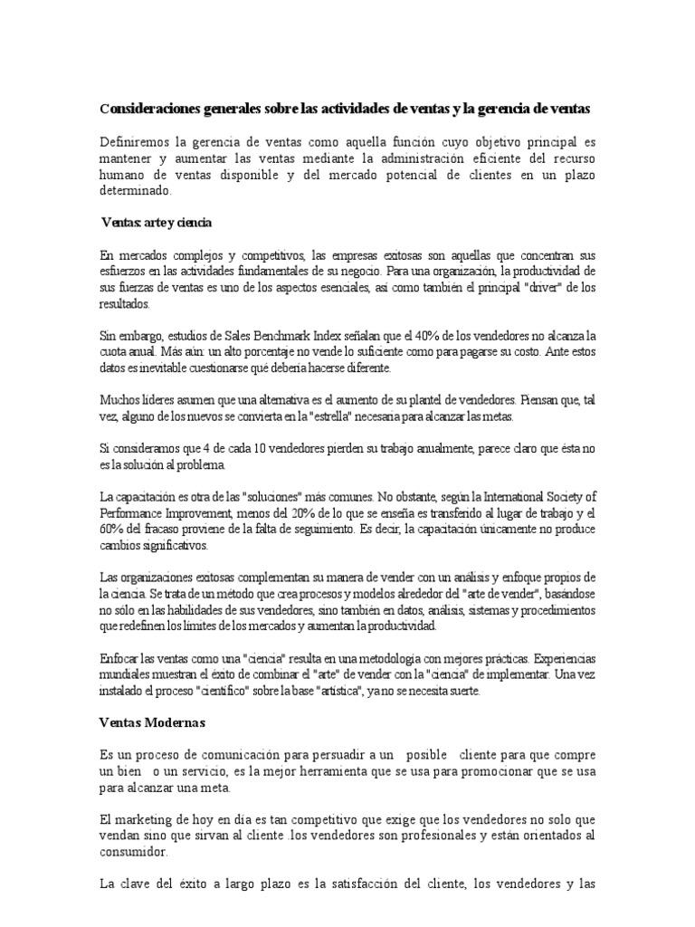Consideraciones Generales Sobre Las Actividades de Ventas y La ...