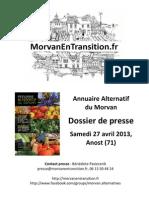 Morvan en Transition - Dossier de Presse - Lancement Annuaire Des Alternatives - 27 Avril 2013