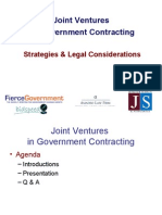 Government Contracting - JV's  Joint Ventures -- Strategies & Legal Considerations