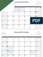 Calendar 2013 Canada
