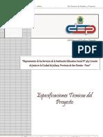 ESPECIFICACIONES TÉCNICAS C.E.I. CORAZÓN DE JESÚS