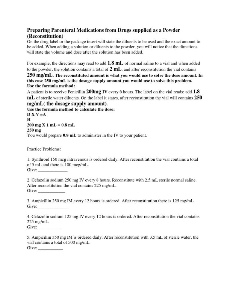 Pharm Nursing Dosage Practice Problems Reconstitution With