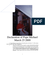 Declaration of the Pope March 25 2009