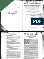 Paracelsus-Hundred & Fourtene Experiments & Cures-1584