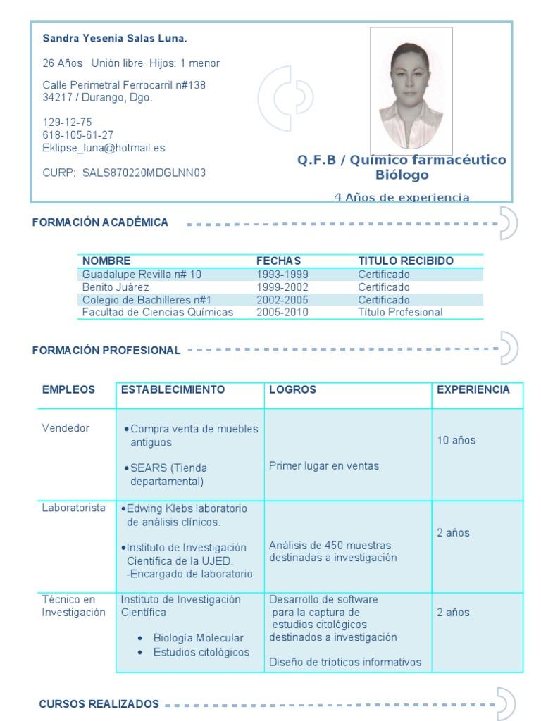 ejemplo curriculum vitae qfb