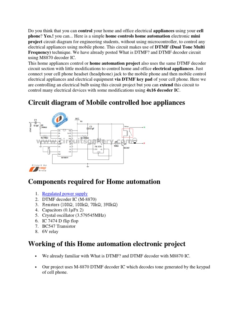 Mobile Telephone Electronic Circuits Dtmf Decoder Circuit