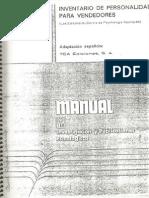 Manual IPV Inventario de Personalidad Para Vendedores