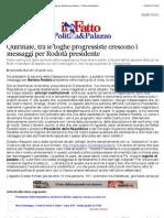a Quirinale, tra le toghe progressiste crescono i messaggi per Rodotà presidente - Il Fatto Quotidiano
