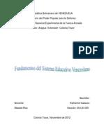 Fundamentos Del Sistema Educativo Venezolano