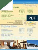Preisliste Hotel Alpengasthof Winklmoosalm 2013
