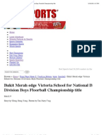 Bukit Merah Edge Victoria School for National B Division Boys Floorball Championship Title