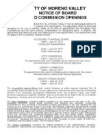 Moreno valley City Council Commission and Board Openings