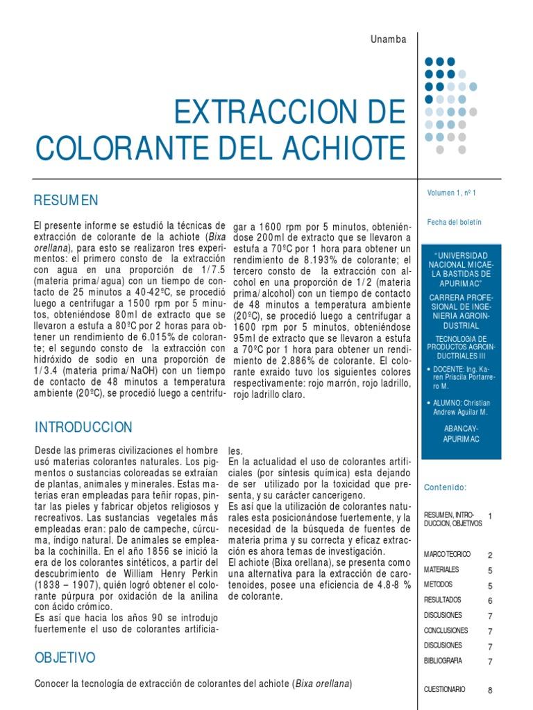 Extraccion Del Colorante Del Achiote