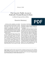 The Case for Public Access to Federally Funded Research Data, Cato Policy Analysis No. 366