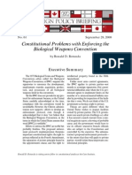Constitutional Problems with Enforcing the Biological Weapons Convention, Cato Foreign Policy Briefing No. 61