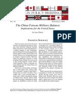 The China-Taiwan Military Balance