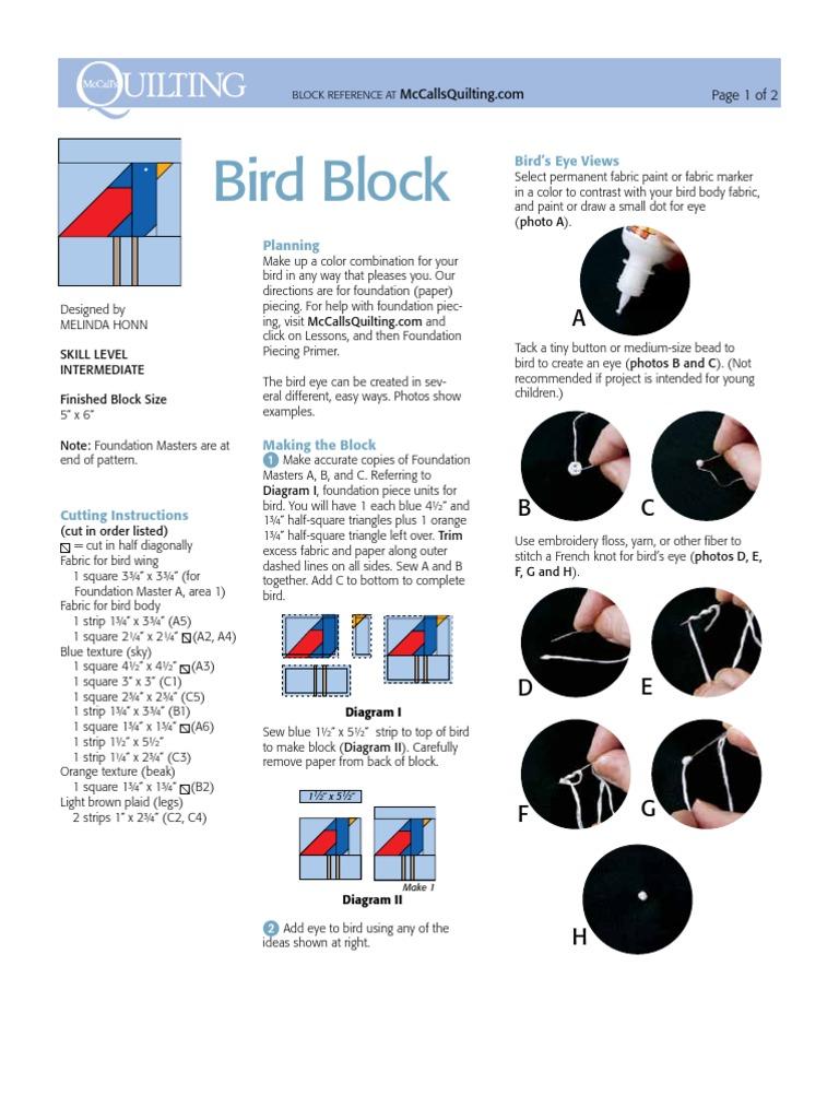 Bird Block Textile Arts Clothing Make A Diagram