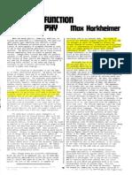 Social function of philosophy - Max Horkheimer