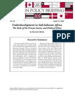 Underdevelopment in Sub-Saharan Africa