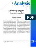 Uncompetitive Elections and the American Political System, Cato Policy Analysis No. 547