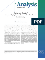 Unbearable Burden? Living and Paying Student Loans as a First-Year Teacher, Cato Policy Analysis No. 629