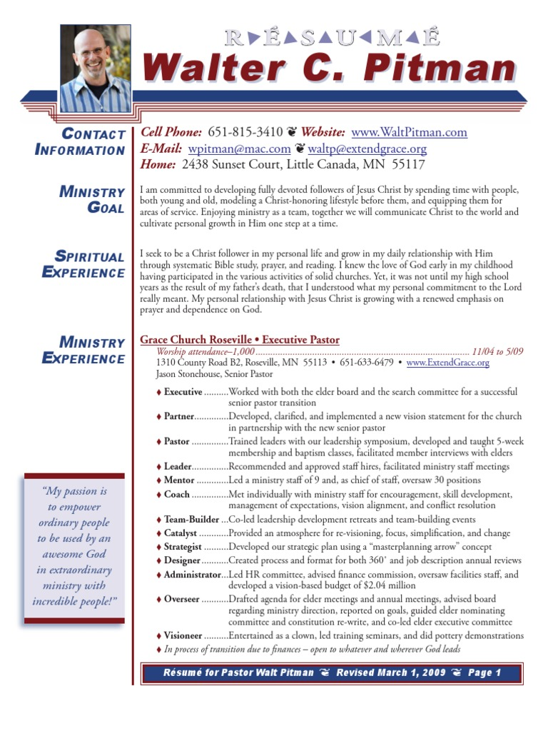Walt Pitman\'s resume-Executive Pastor | Elder (Christianity) | Jesus