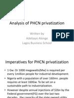Analysis of PHCN Privatization