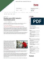 Razões para NÃO reduzir a maioridade penal_Revista Fórum