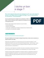 Comment Ecrire Un Bon Rapport de Stage