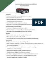 INSTRUCCIONES PARA EL MANEJO DEL GENERADOR ELÉCTRICO