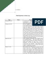 Field Experience Activity Log