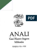 Anali Gazi Husrev-begove biblioteke u Sarajevu, knjiga 7-8 - 1982